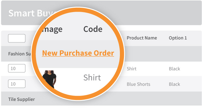smart buyer creates purchase orders for new stock, directly from your inventory system