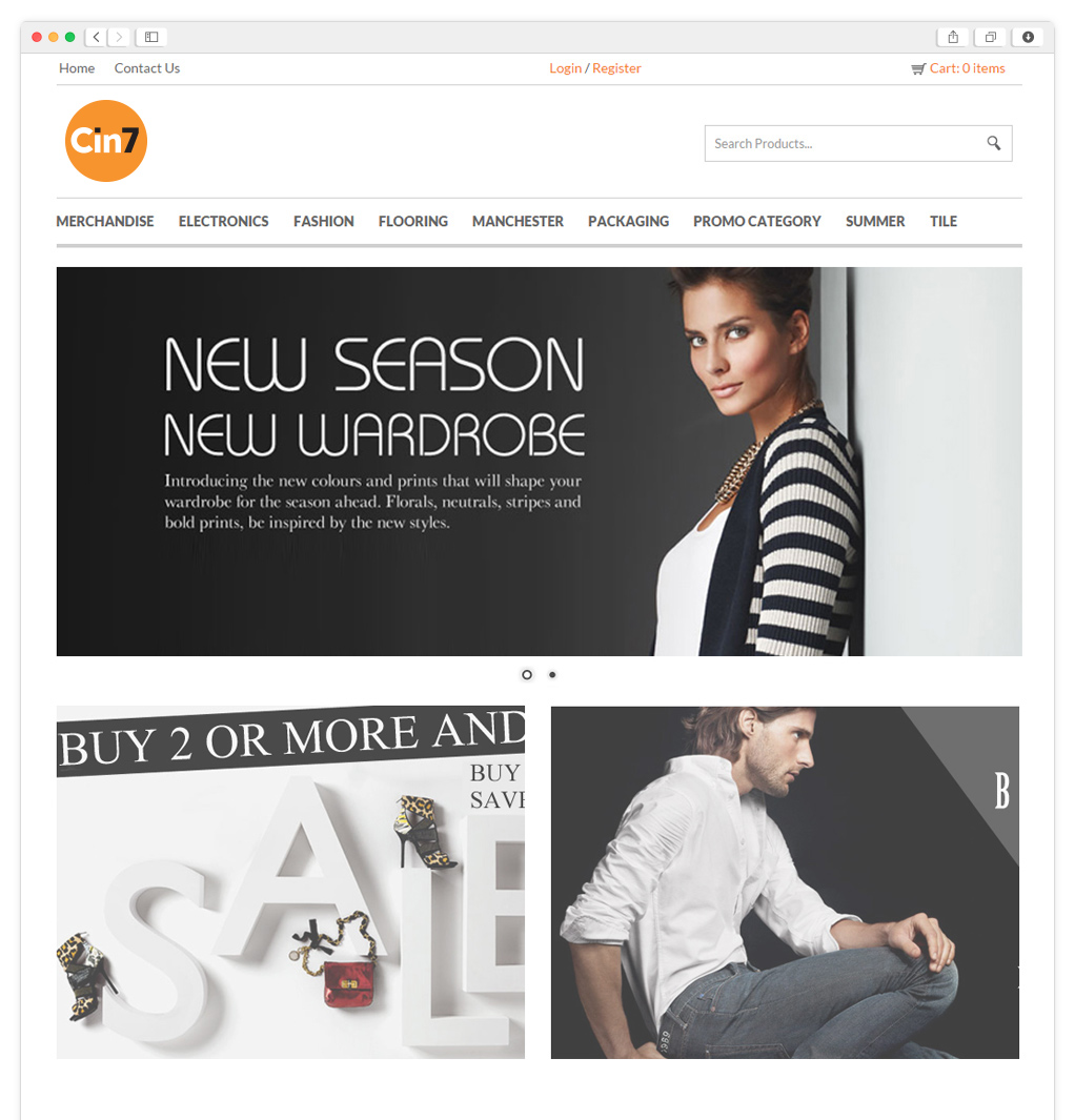 Screen shot of a Cin7 B2B eCommerce website