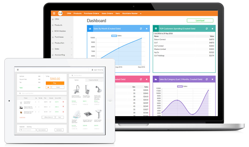 Cin7's tablet POS software is linked to a built-in inventory system